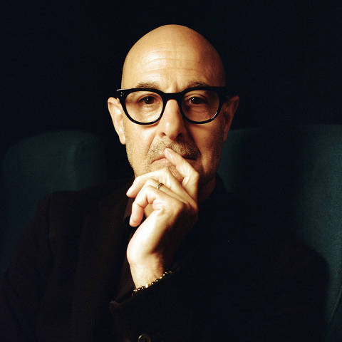 Stanley Tucci in London on Sept. 23, 2021. The actor?s new memoir ?Taste? explains how a bout with cancer took his passion for ragù and risotto, but also Cuban-Chinese stews and minke whale, to new heights. (Charlotte Hadden/The New York Times) ORG XMIT: XNYT63
