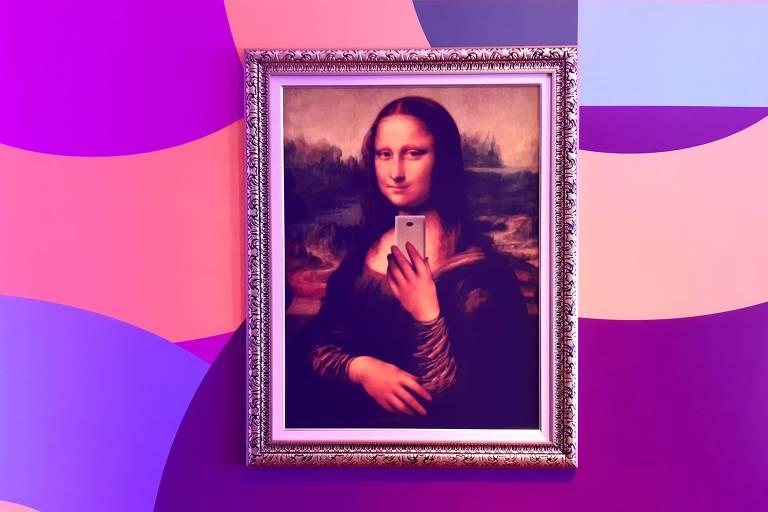 Verão de Mona Lisa, de Da Vinci, que fica exposta na entrada do Museu da Selfie, em SP