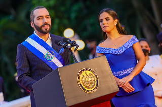 El Salvador's President Nayib Bukele takes part in a ceremony to celebrate the independency bicentennial in San Salvador