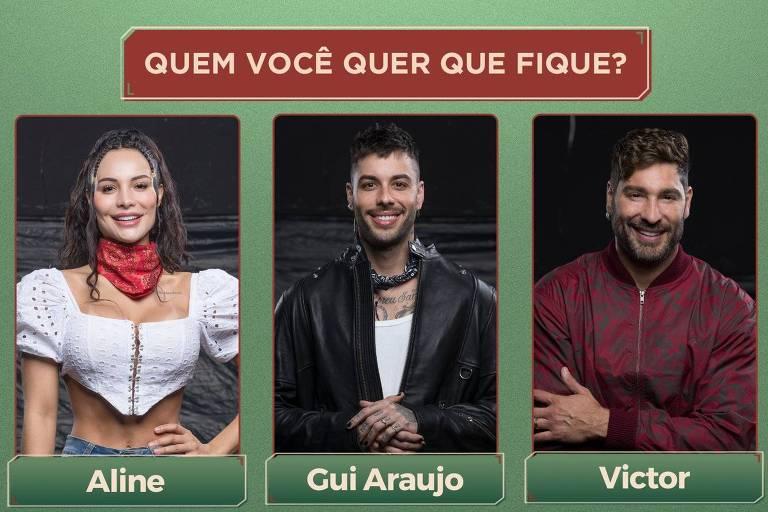 Aline Mineiro, Gui Araujo e Victor Pecoraro estão na roça