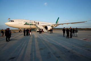 FILE PHOTO: A view of the Alitalia Airbus A330-200 plane ahead of Pope Francis' departure from Fiumicino Airport to begin his visit to the African nations of Mozambique, Madagascar and Mauritius, in Rome