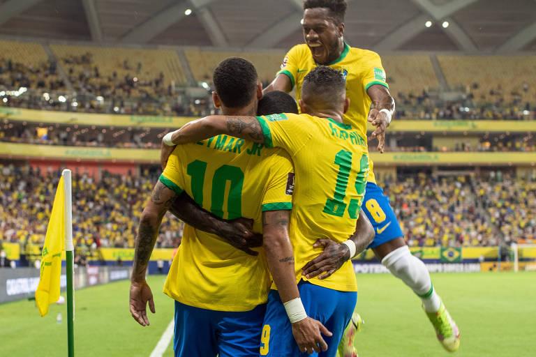 Foi um baile da seleção brasileira contra a Celeste