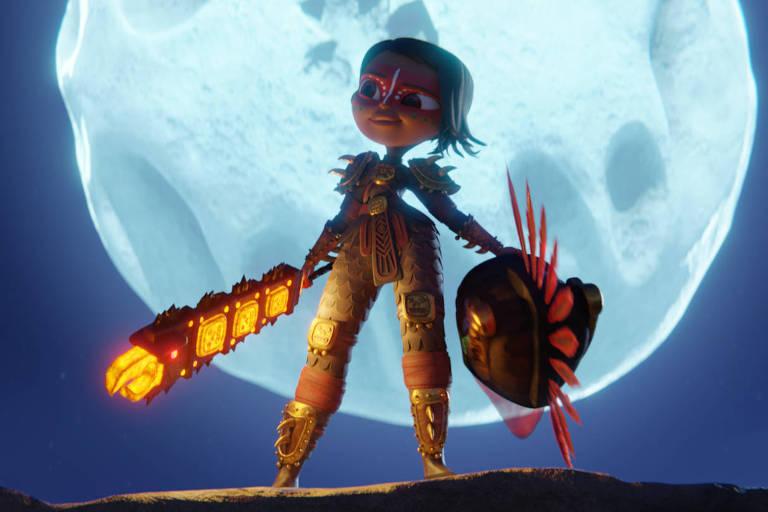 """Cena da série animada """"Maya e os 3 Guerreiros"""", da Netflix"""