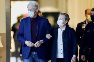 Former U.S. President Bill Clinton walks out of University of California Irvine Medical Center, in Orange, California
