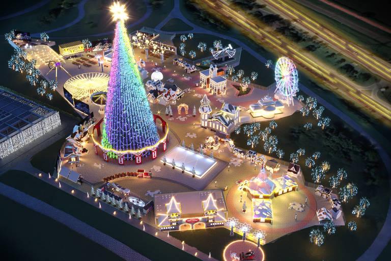 Projeção em 3D da Villa de Natal São Paulo, evento natalino que funcionará de 10 de dezembro a 6 de janeiro no parque Villa-Lobos