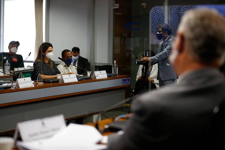 Audiência pública com parentes de vítimas do coronavírus. Na foto, Katia Shirlene Castilho dos Santos conta que perdeu o pai e a mãe, vítimas de Covid -19