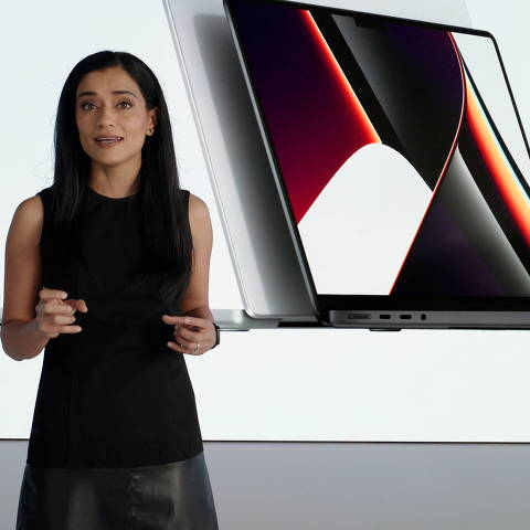 Apple's Shruti Haldea speaks about the MacBook Pro powered by the company's new M1 Pro and M1 Max chips, during a special event at Apple Park in Cupertino, California, U.S. in a photograph released October 18, 2021.  Apple Inc/Handout via REUTERS  NO RESALES. NO ARCHIVES. THIS IMAGE HAS BEEN SUPPLIED BY A THIRD PARTY. ORG XMIT: TOR523