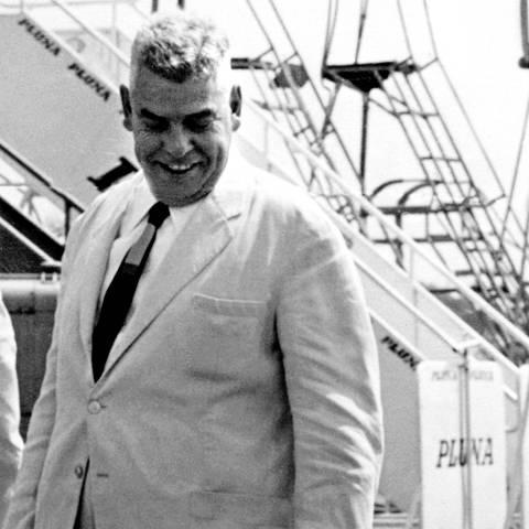ORG XMIT: 304901_0.tif 1965  Local não identificado, 1965: Carlos Caldeira Filho, Luís Frias, Octavio Frias de Oliveira e Otavio Frias Filho, vistos da esq. para a dir. (Foto: Arquivo pessoal)