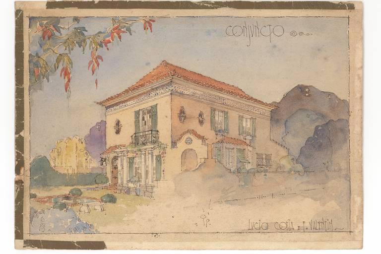 desenho colorido, perspectiva de casa em estilo neocolonial