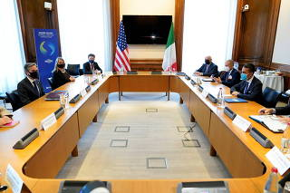 U.S. Secretary of State Blinken meets with Italy's Foreign Minister Di Maio at the OECD Ministerial Council Meeting in Paris