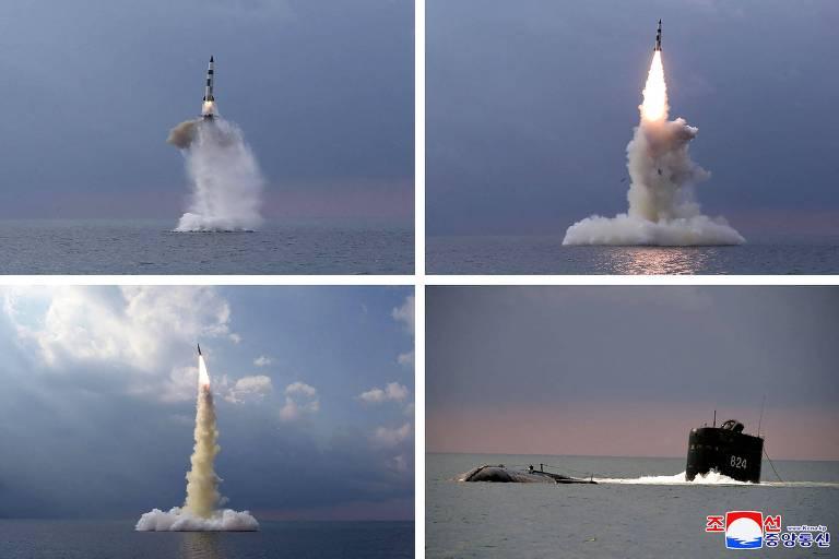 Coreia do Norte diz ter lançado novo tipo de míssil de submarino; veja fotos