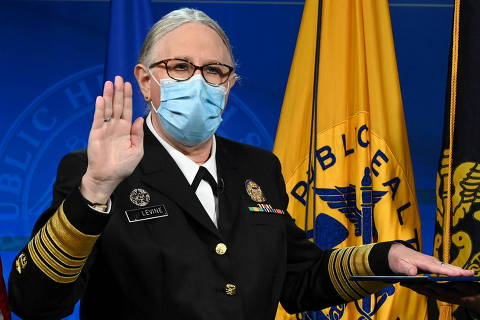 Dr. Rachel Levine, the highest-ranking openly transgender official in the United States, is sworn in as Assistant Secretary for Health and a four-star admiral in the U.S. Public Health Service Commissioned Corps during ceremonies at the Department of Health and Human Services in Washington, U.S., October 19, 2021.  Chris Smith/U.S. Department of Health & Human Services/Handout via Reuters THIS IMAGE HAS BEEN SUPPLIED BY A THIRD PARTY.     TPX IMAGES OF THE DAY ORG XMIT: WAS