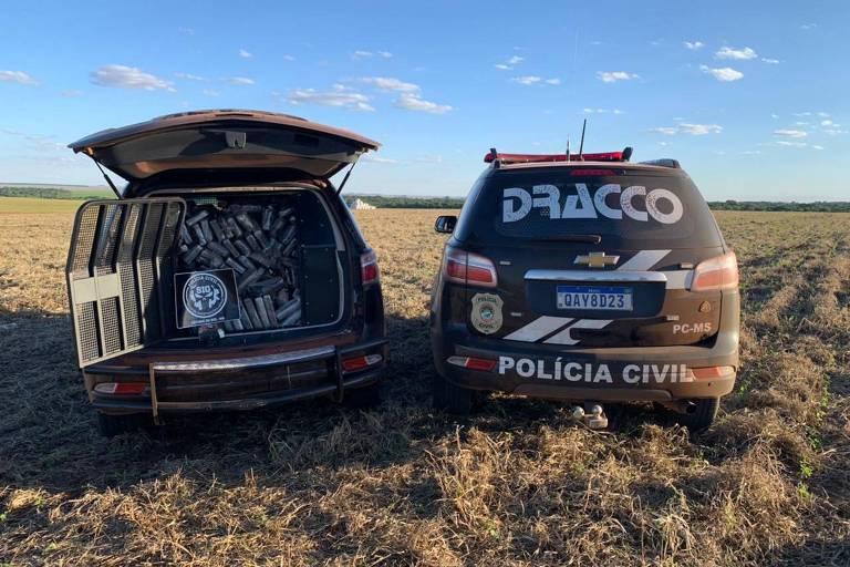 Helicóptero com 246 quilos de cocaína cai na região da fronteira com Paraguai