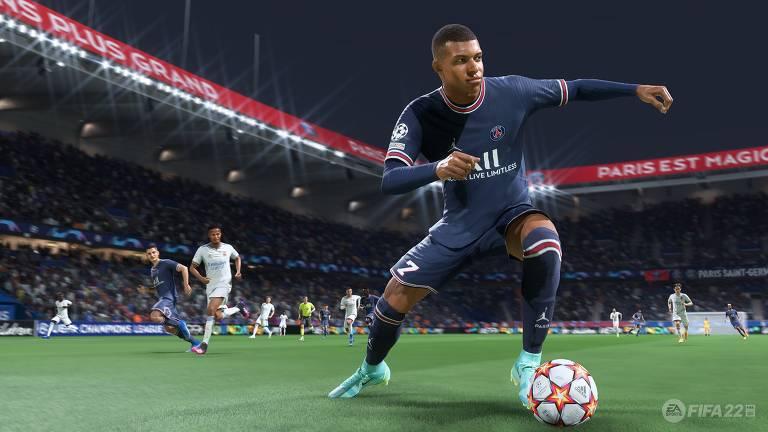 Imagem do jogador Mbappé, no game Fifa 22, da EA Sports