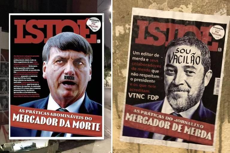 Prédio da Editora Três é vandalizado com pichações e cartazes em defesa de Bolsonaro