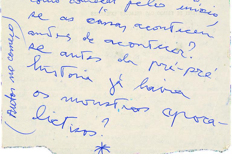 Parte do manuscrito de 'A Hora da Estrela', de 1976, de Clarice Lispector; trecho é um entre muitos rascunhos presentes na exposição 'Constelação Clarice', no IMS Paulista