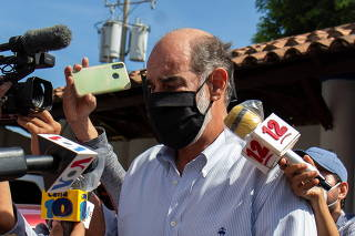 Nicaragua's Michael Healy, President of Superior Council of Private Companies (COSEP), speaks to the media after leaving the prosecutors office in Managua