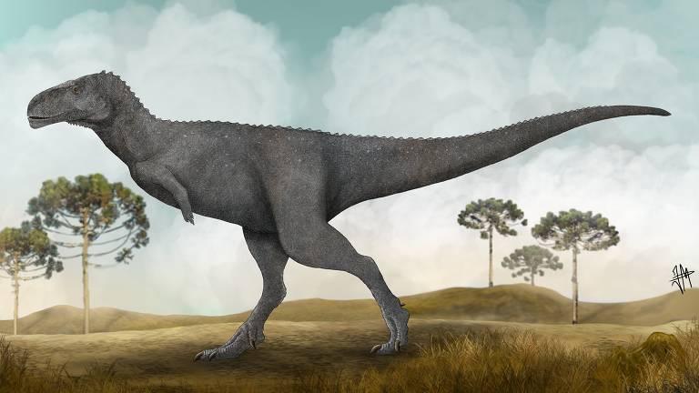 Concepção artística da nova espécie brasileira de dinossauro carnívoro, batizada de Spectrovenator ragei