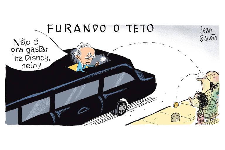 """A charge tem o título """"Furando o teto"""". Nela, o ministro da Economia, Paulo Guedes, aparece no teto solar de uma Limusine preta, jogando uma moeda para dois moradores de rua e diz: """"Não é pra gastar na Disney, hein?"""""""