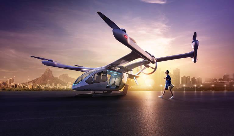 Helicóptero Eve Air Mobility, empresa da Embraer, pousa no Rio de Janeiro