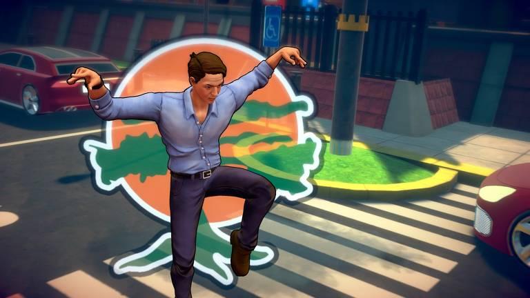 Captura de tela do jogo brasileiro 'Cobra Kai: The Karate Kid Saga Continues'