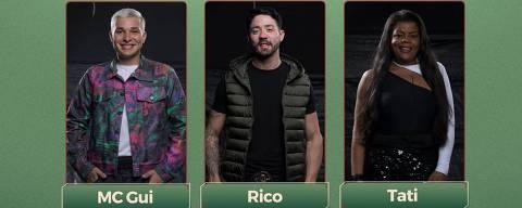 MC Gui, Rico Melquiades e Tati Quebra Barraco estão na roça