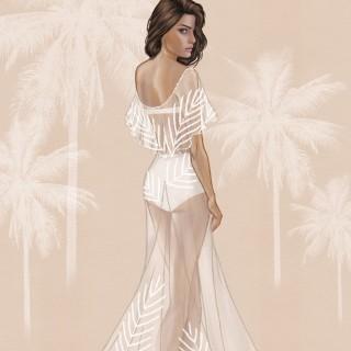 Croqui do vestido de noiva da top Isabeli Fontana