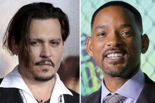 Combination photo of actors Depp in Los Angeles and Smith in New York during premiere of films