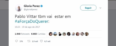 Gloria Perez disse no Twitter que Pabloo Vittar estará na novela