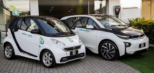 Carros da empresa LDS Group, que vai oferecer o serviço de compartilhamento de carros elétricos em São Paulo