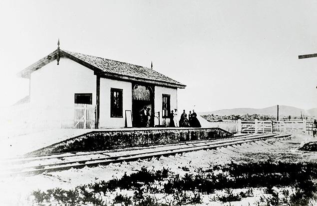 Estação Ferroviária de São Bernardo, atual Estação de Santo André, inaugurada em 16 de fevereiro de 1867